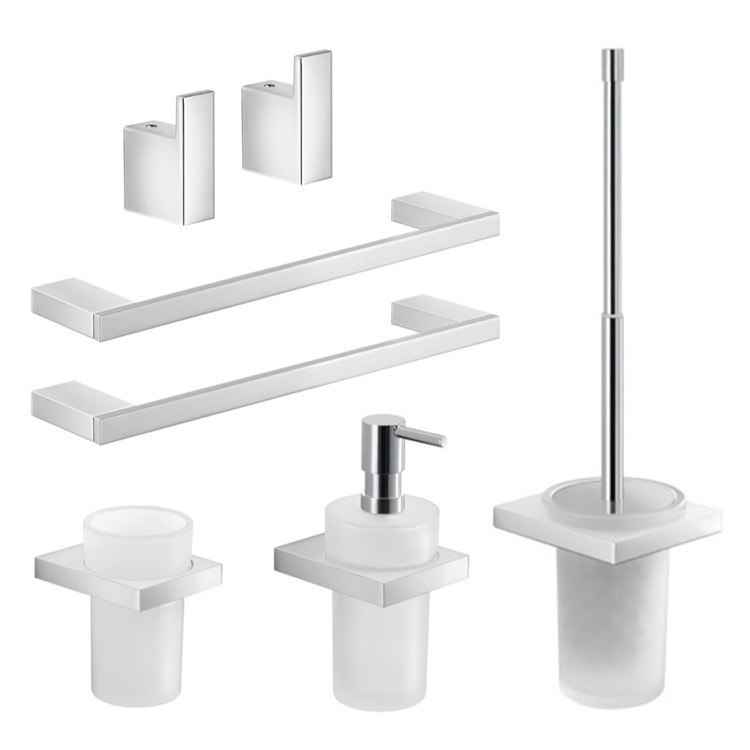GEDY LZ1226 LANZAROTE WALL MOUNTED 7 PIECE CHROME ACCESSORY SET