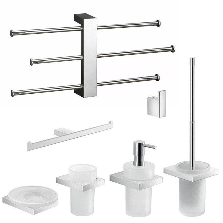 GEDY LZ1230 LANZAROTE CHROME 7 PIECE ACCESSORY SET WITH ADJUSTABLE TOWEL RACK