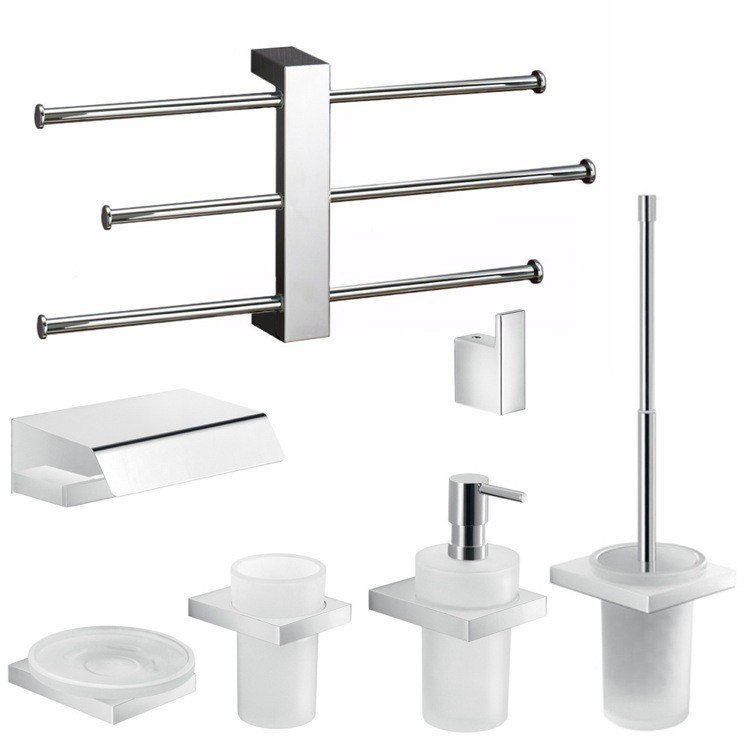 GEDY LZ1232 LANZAROTE MODERN 7 PIECE ACCESSORY SET WITH ADJUSTABLE TOWEL RACK