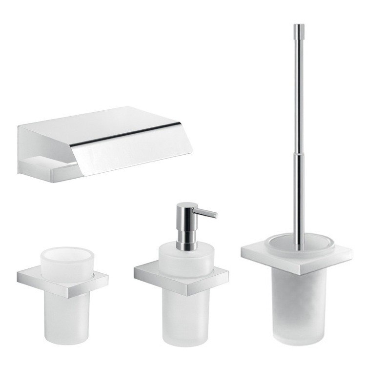 GEDY LZ125 LANZAROTE MODERN 4 PIECE BATHROOM ACCESSORY SET