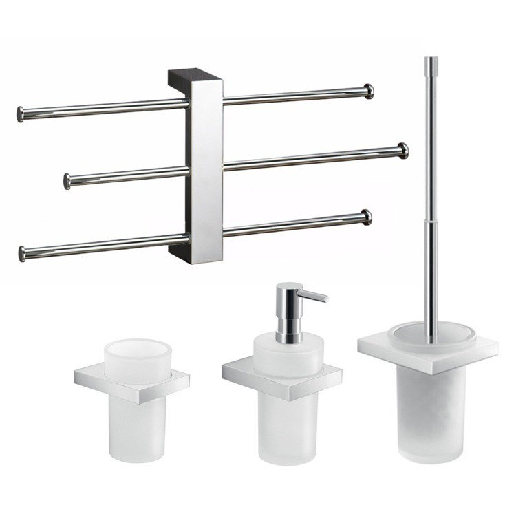 GEDY LZ130 LANZAROTE WALL MOUNTED MODERN BATHROOM ACCESSORY SET