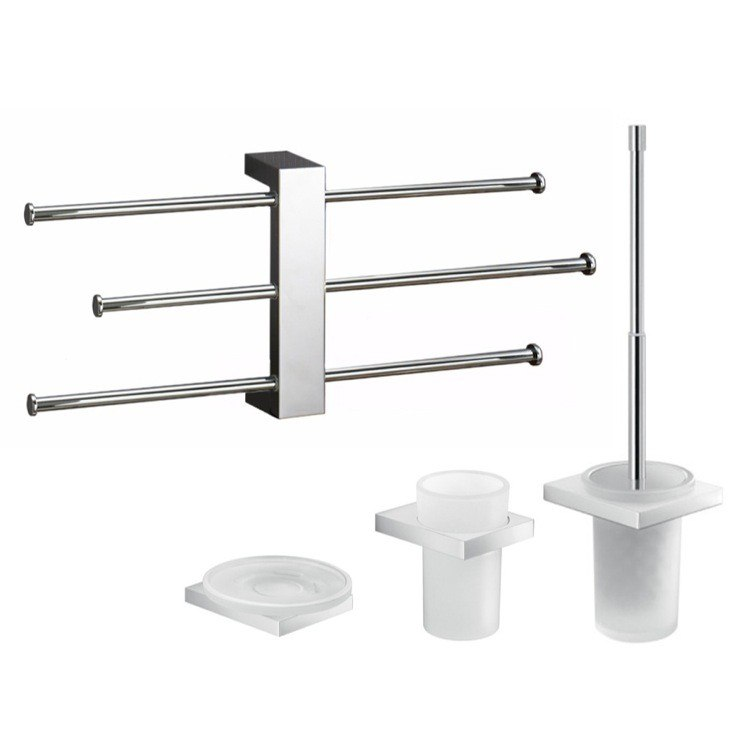 GEDY LZ131 LANZAROTE WALL MOUNTED 4 PIECE BATHROOM ACCESSORY SET