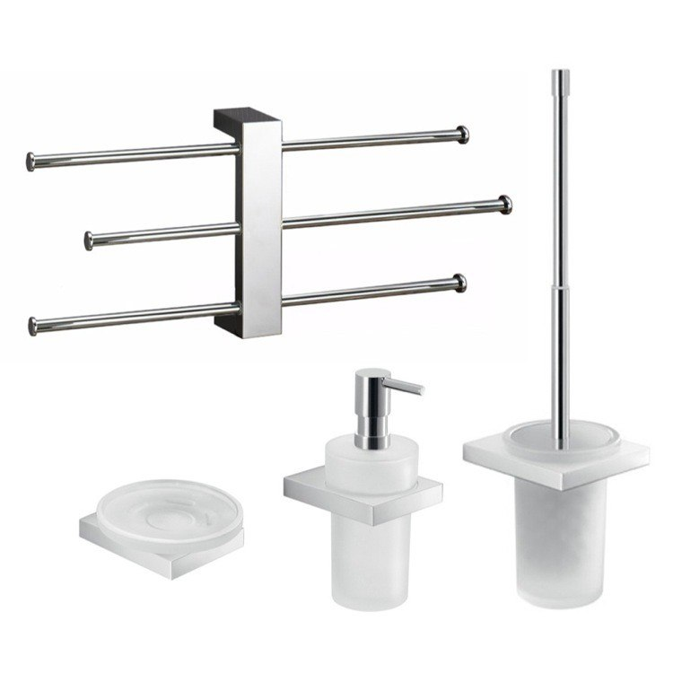 GEDY LZ133 LANZAROTE MODERN WALL MOUNTED BATHROOM ACCESSORY SET
