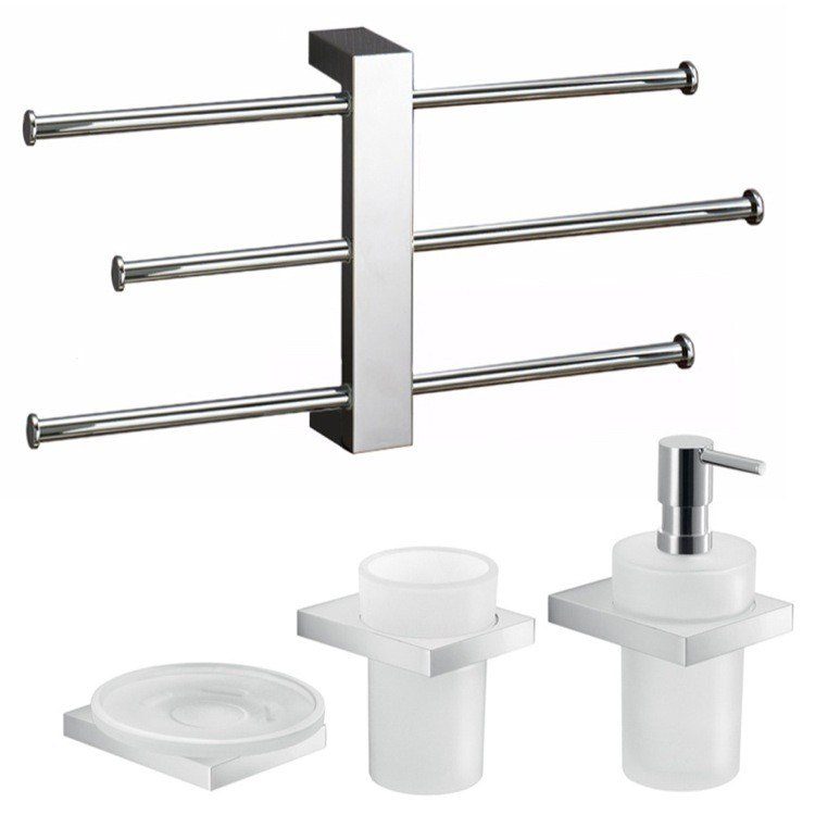 GEDY LZ135 LANZAROTE MODERN WALL MOUNTED BATHROOM ACCESSORY SET