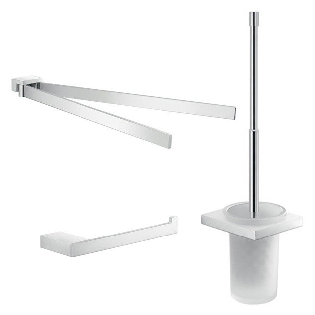 GEDY LZ213 LANZAROTE CHROME WALL MOUNTED BATHROOM ACCESSORY SET