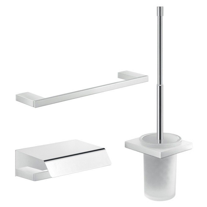GEDY LZ221 LANZAROTE 3 PIECE CHROME BATHROOM ACCESSORY SET