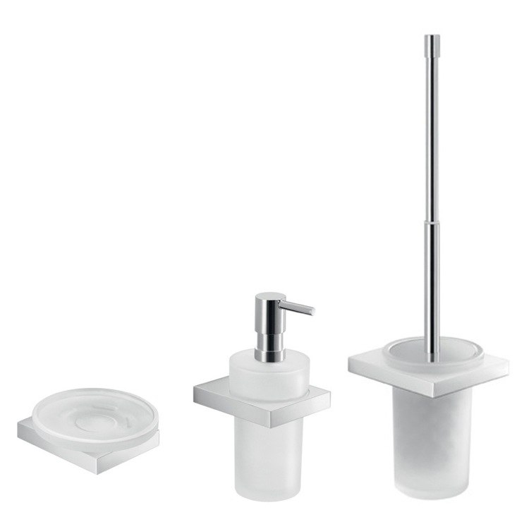 GEDY LZ233 LANZAROTE WALL MOUNTED CHROME BATHROOM ACCESSORY SET