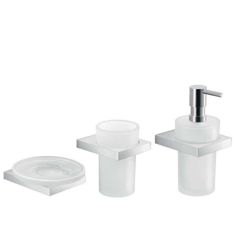 GEDY LZ281 LANZAROTE CHROME WALL MOUNTED BATHROOM ACCESSORY SET