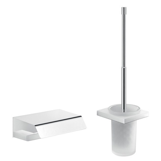 GEDY LZ533 LANZAROTE CHROME WALL MOUNTED TOILET BRUSH AND TOILET PAPER HOLDER SET