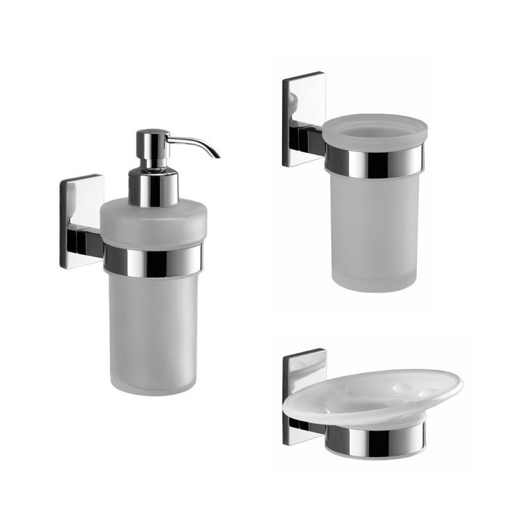 GEDY MNE200-13 MAINE WALL MOUNTED 3 PIECE CHROME ACCESSORY SET