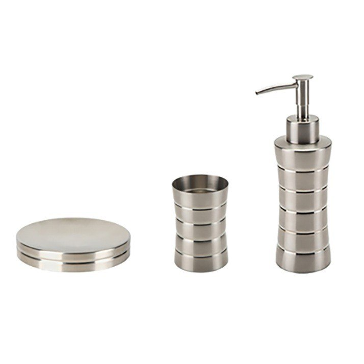 GEDY NAS200 NAOS 3 PIECE STAINLESS STEEL ACCESSORY SET IN BRUSHED NICKEL
