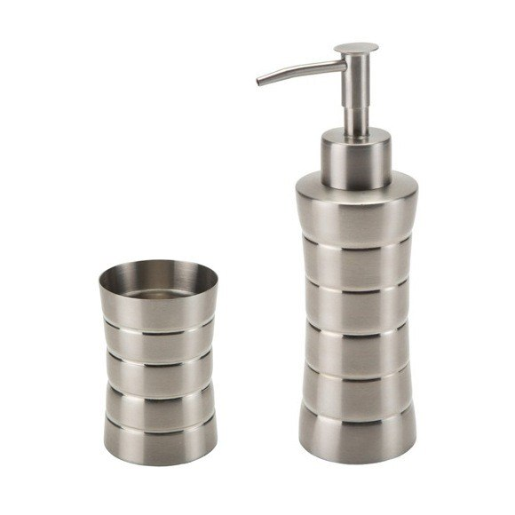 GEDY NAS500 NAOS STAINLESS STEEL SOAP DISPENSER AND TUMBLER SET
