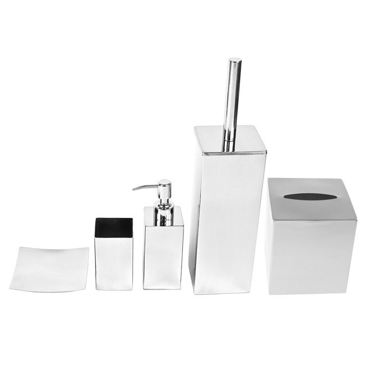 GEDY NE102 NEMESIA FREE STANDING STAINLESS STEEL BATHROOM ACCESSORY SET