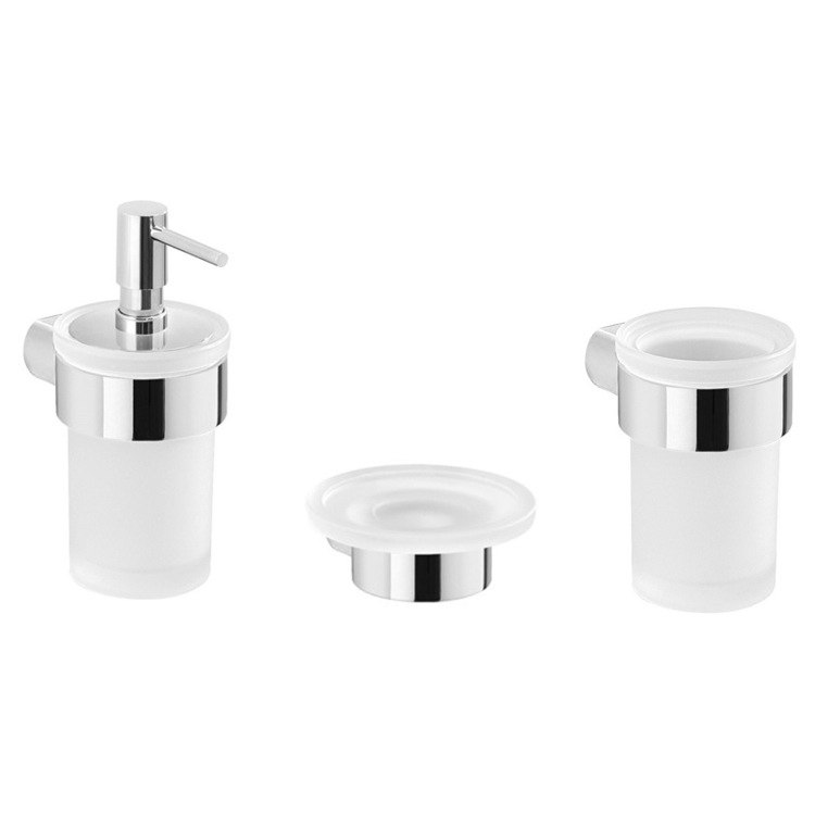 GEDY PI211 PIRENEI 3 PIECE WALL MOUNTED CHROME ACCESSORY SET