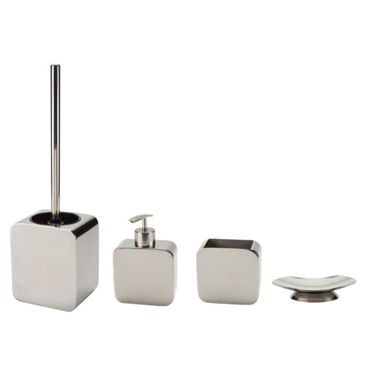 GEDY POL100 POLARIS CHROME FOUR PIECE BATHROOM ACCESSORY SET