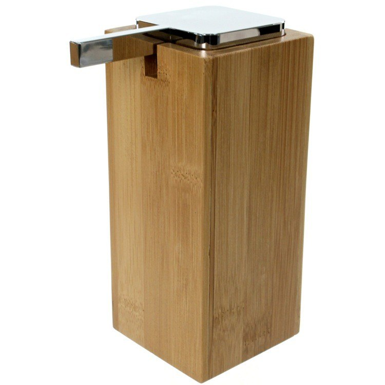 GEDY PO80-35 POTUS LARGE WOOD WOOD SOAP DISPENSER WITH CHROME PUMP