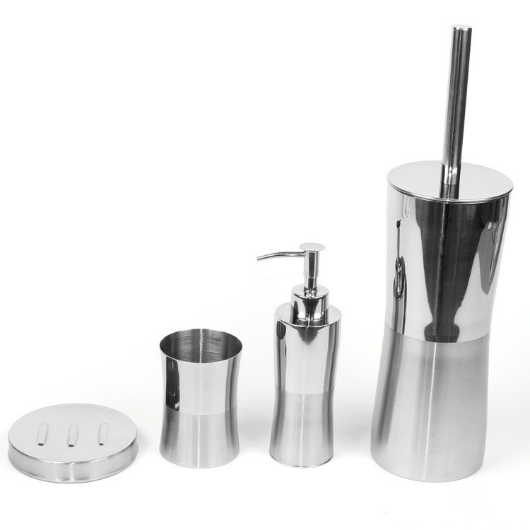 GEDY PR100 PRIMULA ROUND STAINLESS STEEL BATHROOM ACCESSORY SET