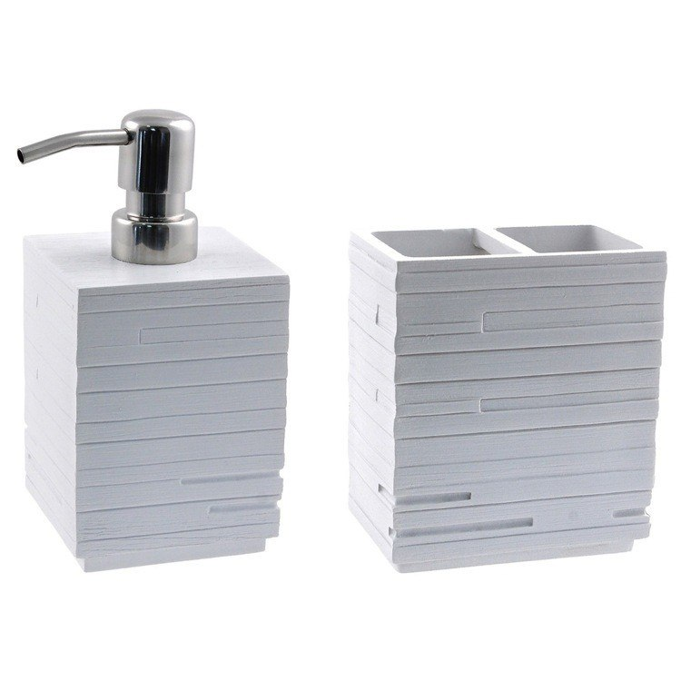 GEDY QU500-02 QUADROTTO QUADROTTO WHITE RESIN SOAP DISPENSER AND TOOTHBRUSH HOLDER SET