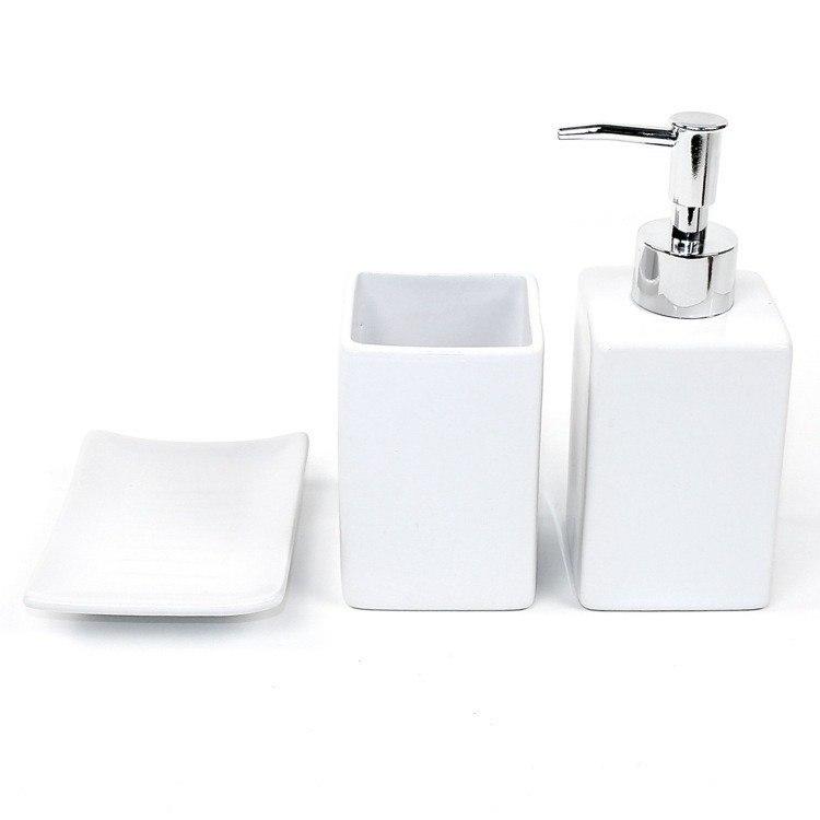 GEDY VE100 VERBENA VERBENA WHITE POTTERY BATHROOM ACCESSORY SET