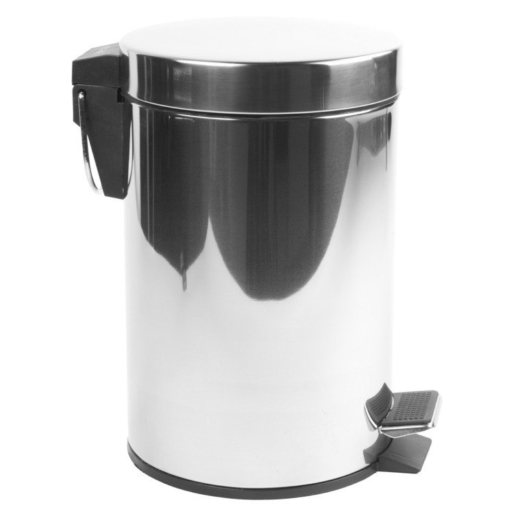 GEESA 634 STANDARD HOTEL ROUND CHROME BATHROOM WASTE BIN WITH PEDAL
