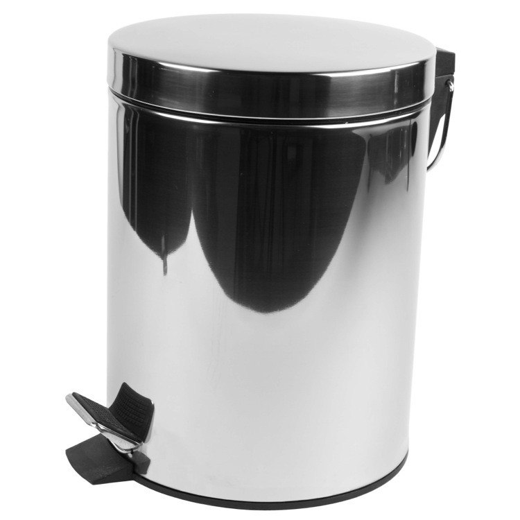 GEESA 635 STANDARD HOTEL CHROME FREE STANDING ROUND BATHROOM WASTE BIN WITH PEDAL