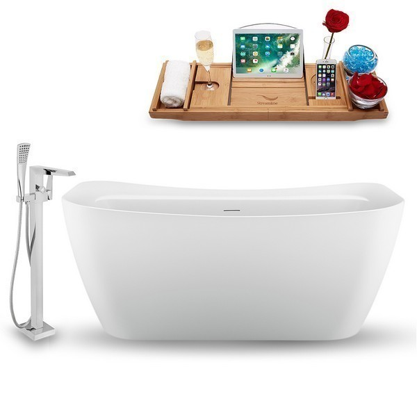 STREAMLINE N1720CH-100 59 INCH FREE-STANDING TUB IN GLOSSY WHITE WITH TRAY, INTERNAL DRAIN IN POLISHED CHROME AND FAUCET H-100-TFMSHCH