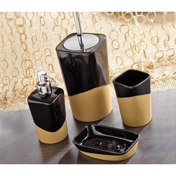GEDY NA100 NAMIBIA BLACK/MUSTARD POTTERY BATHROOM ACCESSORY SET