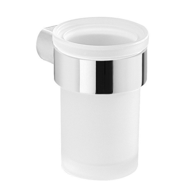 GEDY PI10-13 PIRENEI WALL SATIN GLASS TOOTHBRUSH HOLDER WITH CHROME MOUNT