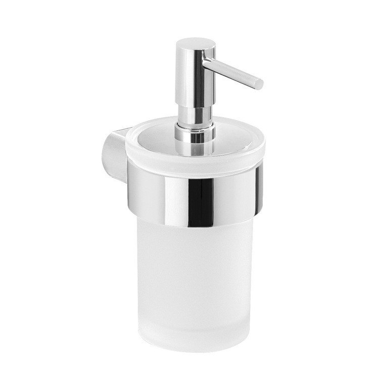 GEDY PI81-13 PIRENEI WALL MOUNT FROSTED GLASS SOAP DISPENSER WITH CHROME MOUNT