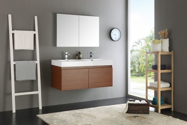 Fresca FVN8012TK Senza Mezzo 48 Inch Teak Wall Hung Double Sink Modern  Bathroom Vanity With Medicine Cabinet
