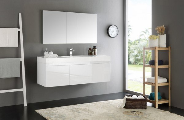 Fresca FVN8041WH Senza Mezzo 60 Inch White Wall Hung Single Sink Modern Bathroom Vanity with Medicine & FVN8041WH Senza Mezzo 60 Inch White Wall Hung Single Sink Modern ...