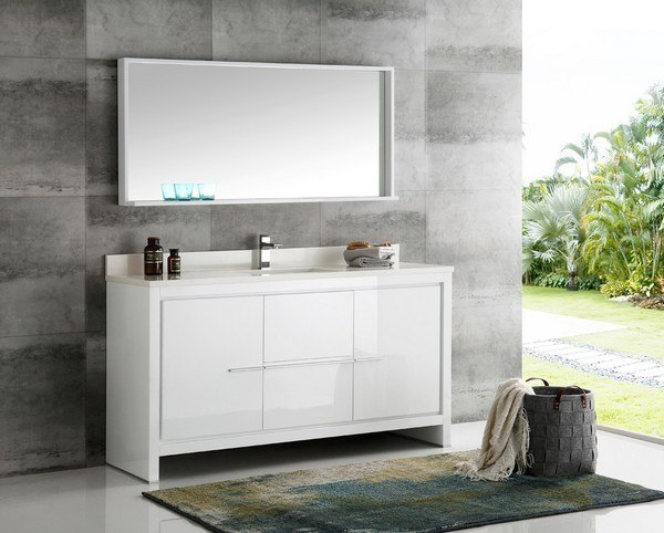 FRESCA FVN8119WH-S TRIESTE ALLIER 60 INCH WHITE MODERN SINGLE SINK BATHROOM  VANITY WITH MIRROR