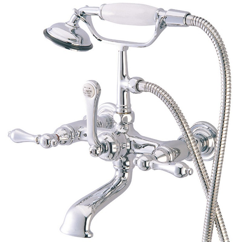 KINGSTON BRASS CC552T1 VINTAGE 7 INCH WALL MOUNT TUB FILLER WITH HAND SHOWER IN POLISHED CHROME