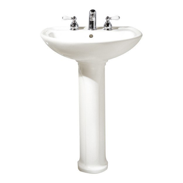 American Standard 0236.811 Cadet 20 Inch Classic Porcelain Lavatory and Pedestal, 8 Inch Center to Center