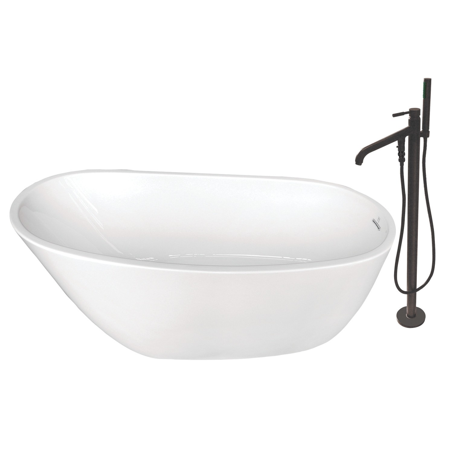 Kingston Brass Ktrs592928a1 Aqua Eden 59 Inch Acrylic Freestanding Tub With Faucet Combo Kingston Brass Ktrs592928a5