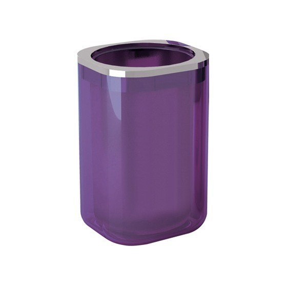 Gedy 1498 32 Bijou Stylish Round Toothbrush Holder Transparent Lilac Chrome