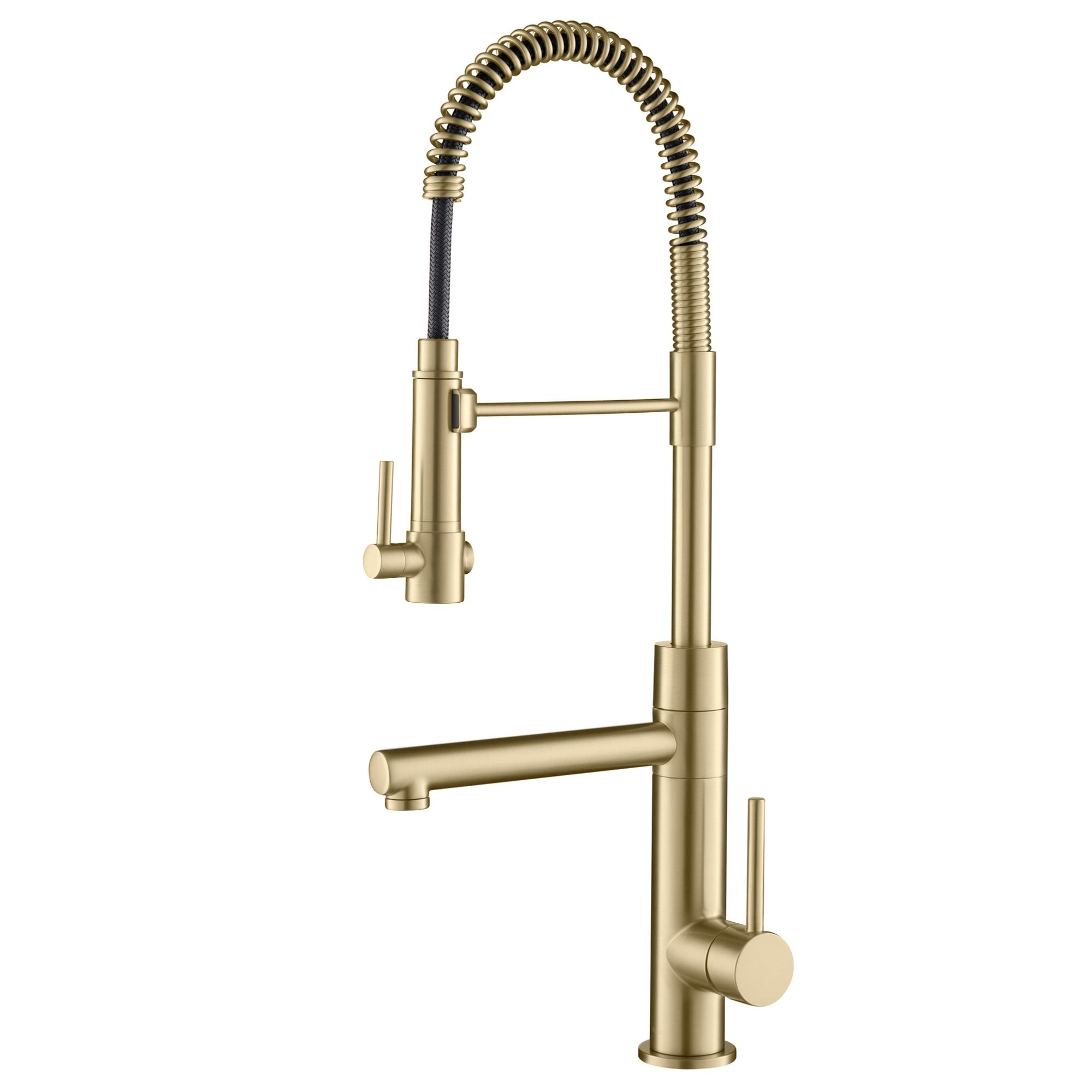 Dual Handles Pot Filler Folding tap Brass Kitchen Sink Faucet Brushed gold Tap