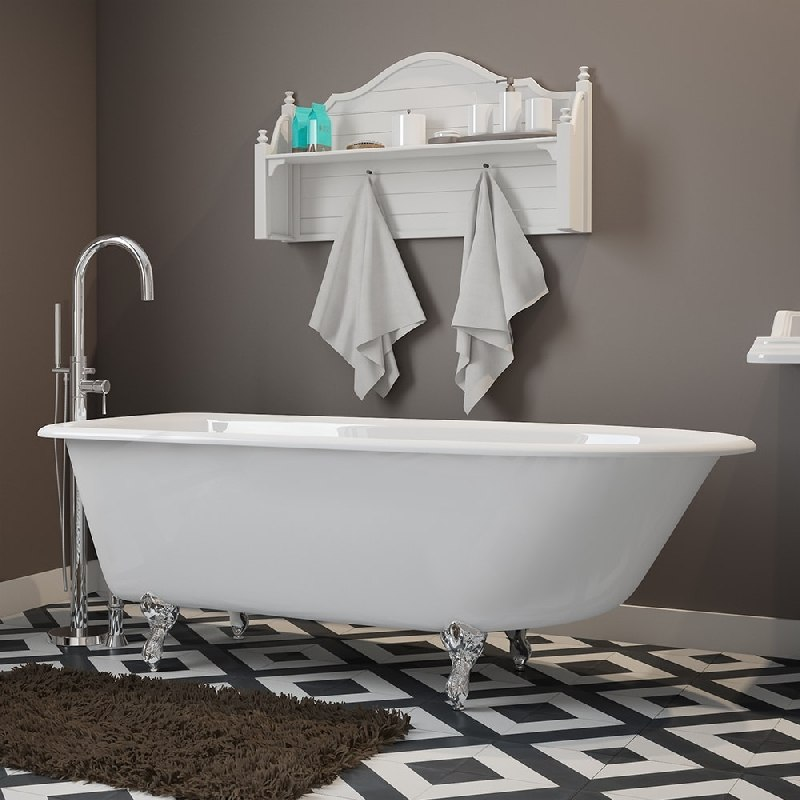 Cambridge Plumbing Rr61 150 Pkg Nh Cast Iron Rolled Rim Clawfoot Tub 61 X 30 Inch With Modern Freestanding Filler And Hand Shower Embly