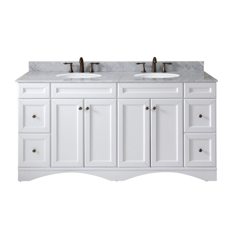 VIRTU USA ED-25072-WMRO-WH-001-NM TALISA 72 INCH DOUBLE BATH VANITY IN WHITE WITH MARBLE TOP AND ROUND SINK WITH FAUCET