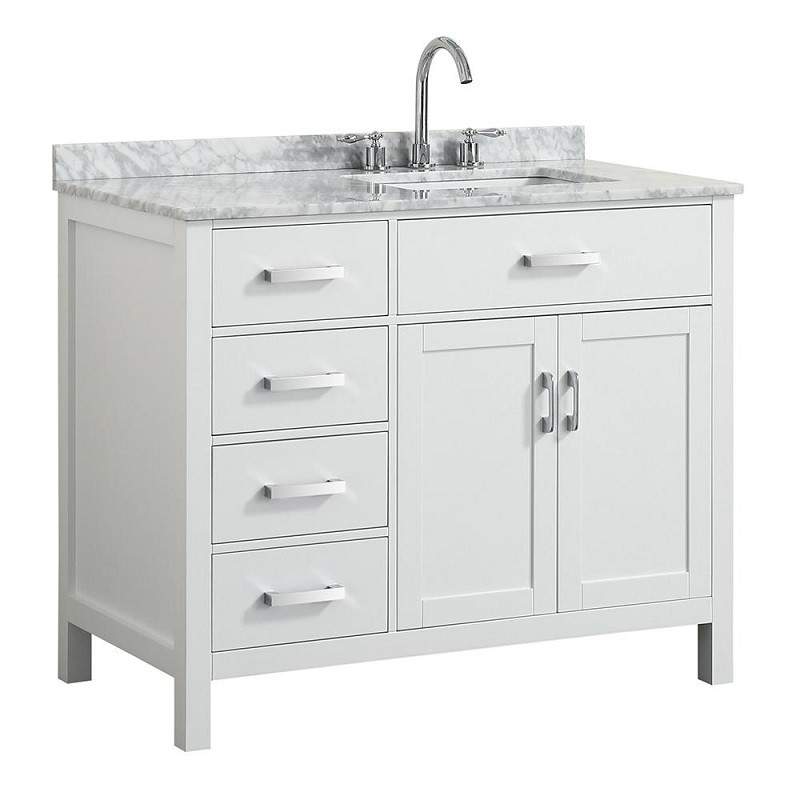Belmont Decor Bdv043srrecwht Hampton 43 Inch Single Sink Vanity With Right Offset Rectangle Sink Belmont Decor
