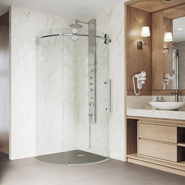 Vigo Vg6031cl36r Sanibel 36 X Inch Frameless Round Sliding Door Shower Enclosure With Right