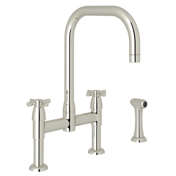 Rohl U 4278x Pn 2 Perrin Rowe Holborn U Spout Bridge Kitchen Faucet With Sidespray Cross Handles Polished Nickel