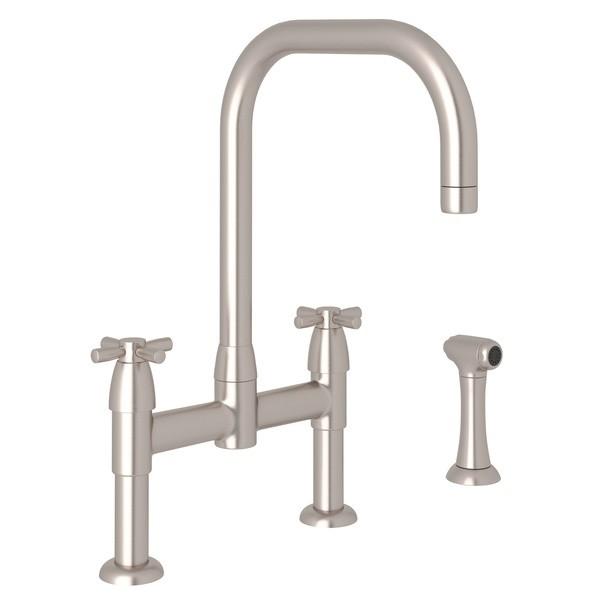 Rohl U 4278x Stn 2 Perrin Rowe Holborn U Spout Bridge Kitchen Faucet With Sidespray Cross Handles Satin Nickel