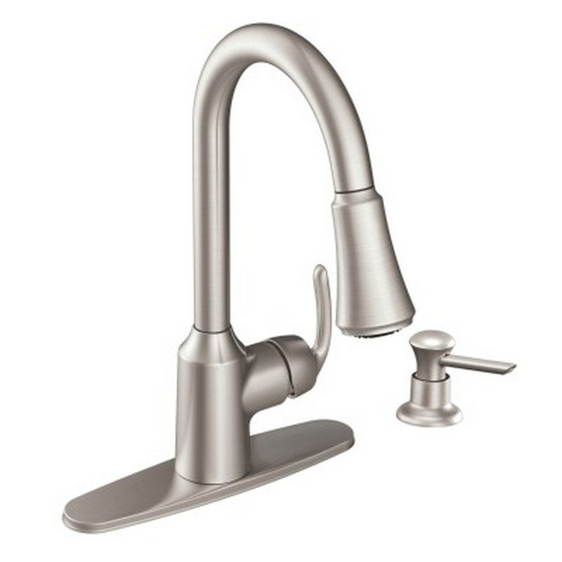 MOen CA87094 Bayhill One-Handle High Arc Pulldown Kitchen Faucet in Spot  Resist Stainless