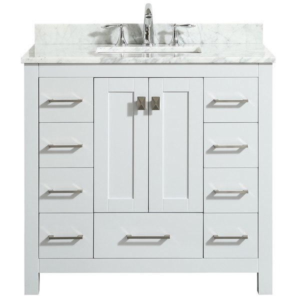 Eviva Evvn411 36wh Hampton 36 Inch Transitional Bathroom Vanity With White Carrara Countertop And White Undermount