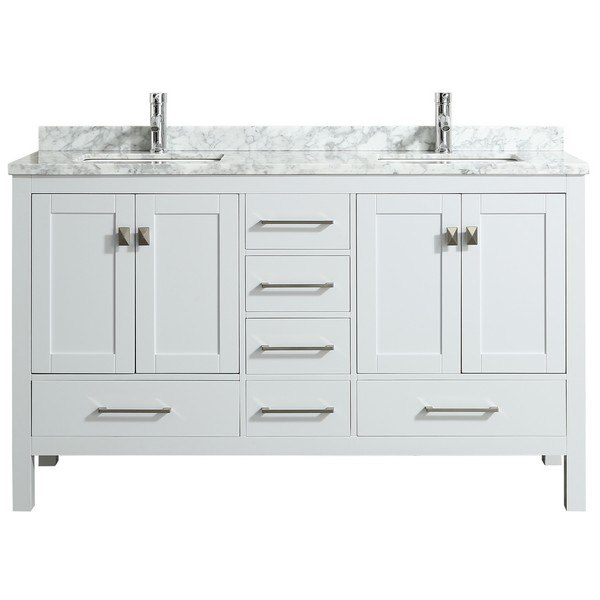 Eviva Tvn414 60x18 London 60 Inch X 18 Inch Transitional Bathroom Vanity With Marble Top And