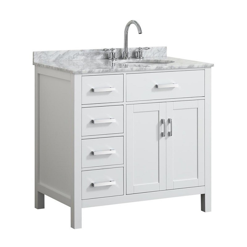 Belmont Decor Bdv037srovlwht Hampton 37 Inch Single Sink Vanity With Right Offset Oval Sink Belmont Decor
