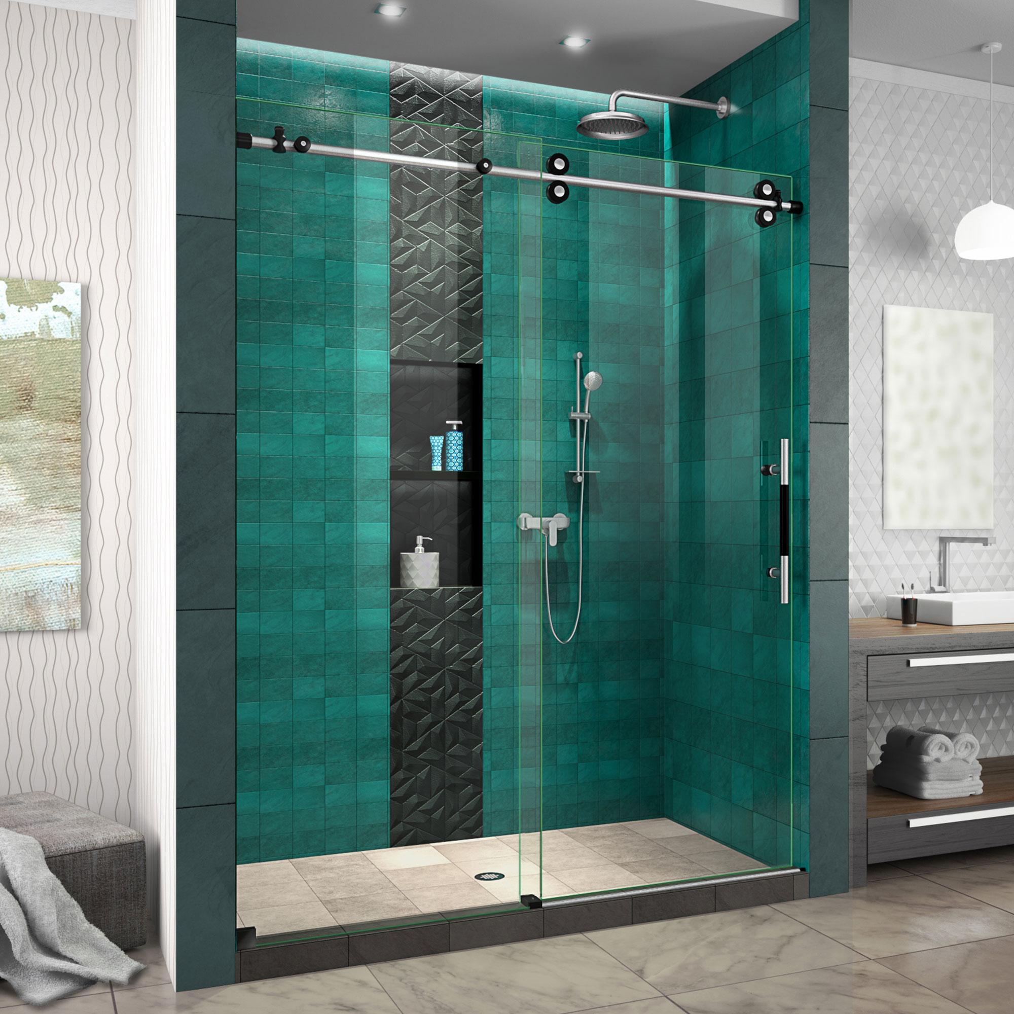 Dreamline Shdr61607620 Enigma Xo 56 60 W X 76 H Inch Frameless Clear Glass Sliding Shower Door