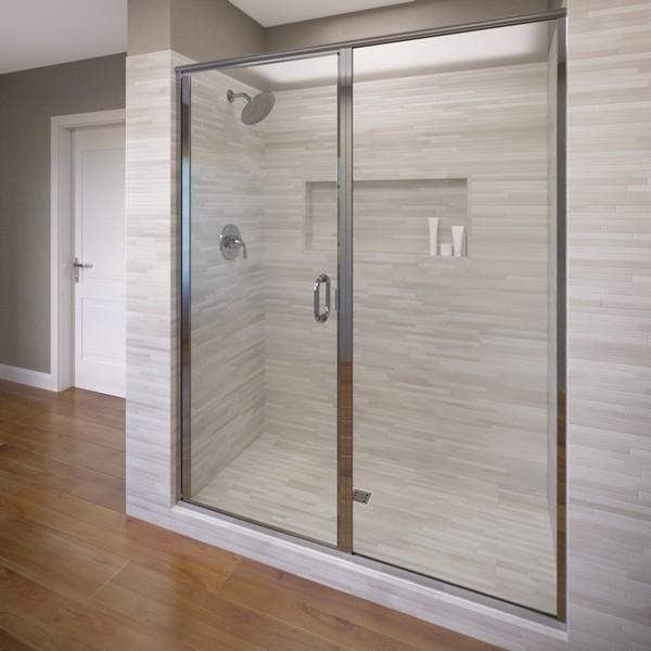 Basco Infh35a4668clsv Infinity Semi Frameless Swing Shower Door Panel Fits 45 46 Inch Opening Basco