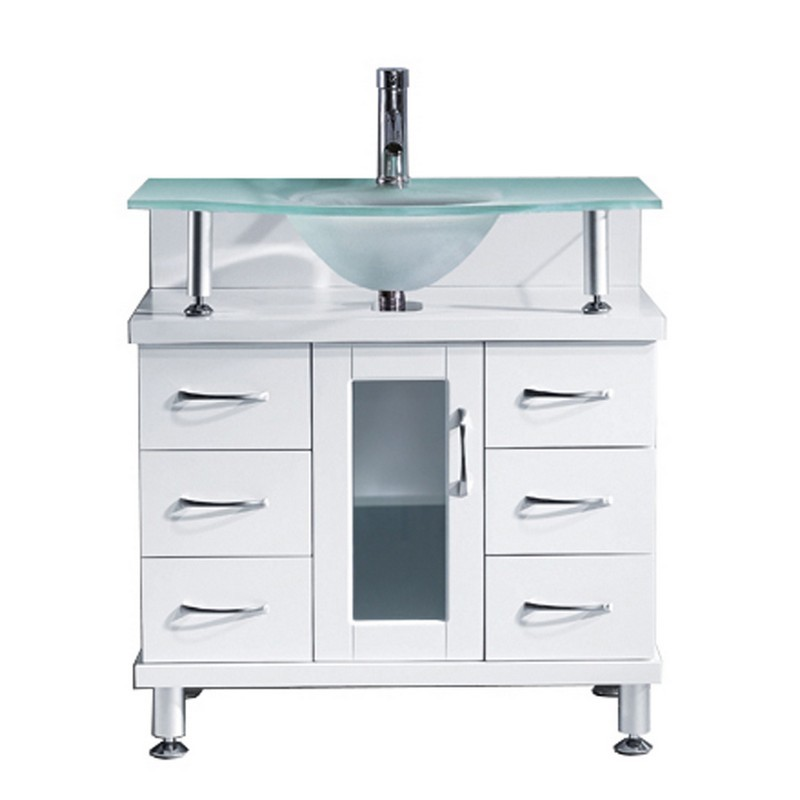 Virtu Usa Ms 32 Fg Wh Vincente 32 Inch Single Bath Vanity With Frosted Tempered Glass Top And Round Sink White